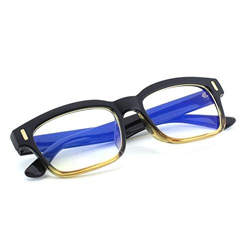 (CGID CT84 Computer Glasses Readers Reading Video Gaming Glasses of Anti Blue Light Eye Strain and UV Light,Vintage Rectangle Black Brown Frame,Transparnet)