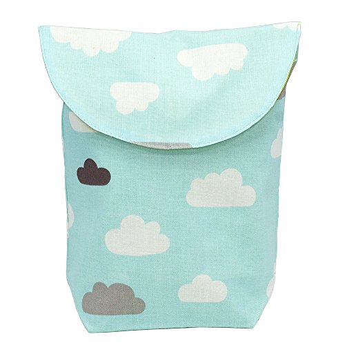 Aryko Baby Pouch for Food, Bottle, Diaper, Toys, and More | Premium Cotton with Inside Waterproof | Designer Collection - Blue (Blue Diaper Pouch)