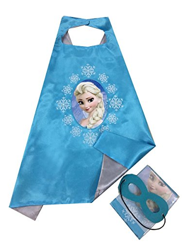 Girl Capes (Elsa, Girls Super hero Cape and Mask Dress Up Costume, Halloween, Birthday)
