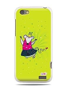 GRÜV Premium Case - 'Cute Funny Cartoon Princess Mouse' Design - Best Quality Designer Print on White Hard Cover - for HTC One V T320e