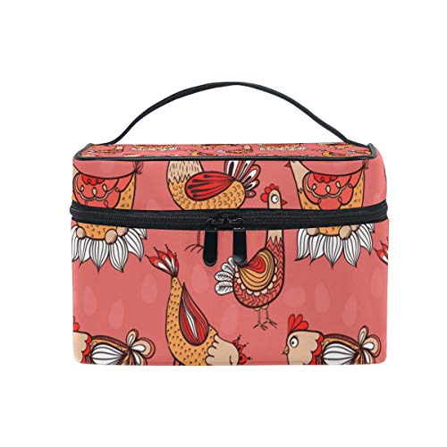 Red Lucky Rooster And HenWomen's multi-functional cosmetic bag, portable and stylish, cute and suitable for all occasions.