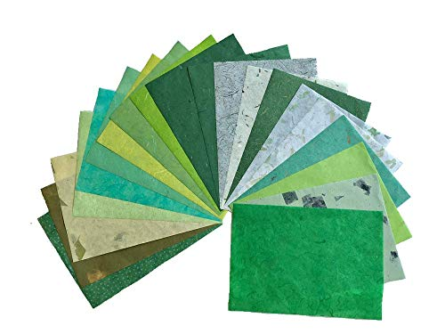 20 Mulberry Paper Sheets Design Craft Hand Made Art Tissue Japan Origami Washi Wholesale Bulk Sale Unryu Suppliers Card Making, Washi Paper Sheets (Mixed Green Colors)