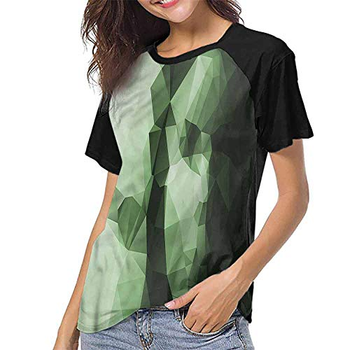 Mangooly Female Baseball Short Sleeve,Geometric,Low Poly Woman Portrait S-XXL T-Shirt Casual Blouse]()