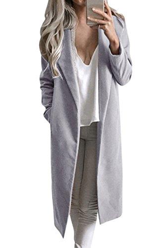 Revers Suvotimo Imperméable Devant En Loneline Ouvert Laine Grey Cardigans Les wwCqBUAx