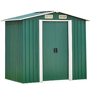 4x6 Ft Outdoor Storage Sheds Heavy Duty Garden Yard Storage Tool House Steel Green