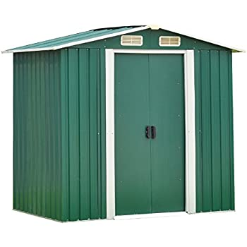 Ainfox 4FT X 6FT Steel Toolsheds Storage, Windows Utility for Outdoor  Garden Backyard Lawn Warm Green