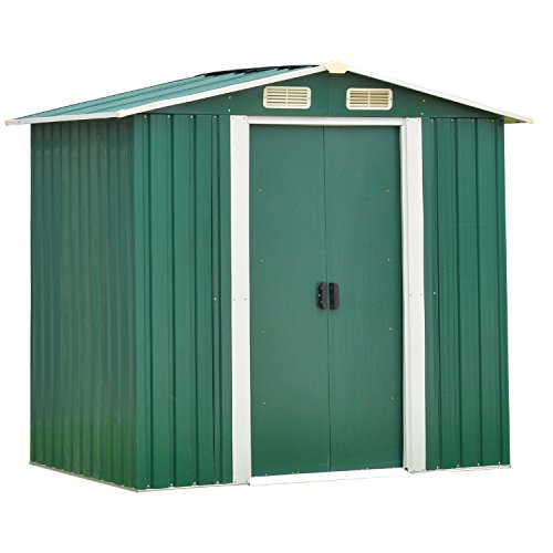 Outdoor Tool Storage Sheds, Patio Steel Utility Tool House for Garden Yard Garage Backyard Lawn w/Sliding Door