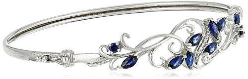 Sterling Silver Created Blue Sapphire and Cubic Zirconia Filigree Hinged Bangle Bracelet, 7.25