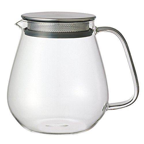 Kinto Stainless Unitea One Touch Teapot 720 Milliliter (24.35 Fl. Oz.) - Heat-resistant Glass Teapot with Stainless Steel Strainer in Lid (Japan - Glass Vintage Japan