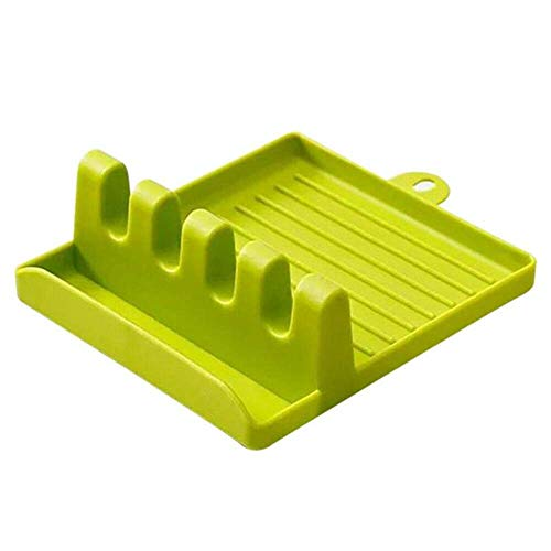 Amulakh 4 Slots Cooking Utensil Storage Rack Silicone Spoon Rests Mat Stand Heat Resistant Cooking Spatula Holder Tray…