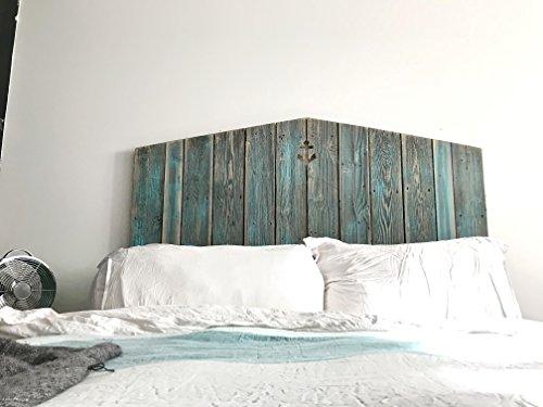 Grey and Teal reclaimed wood coastal anchor cutout (Bedroom Nautical Headboard)