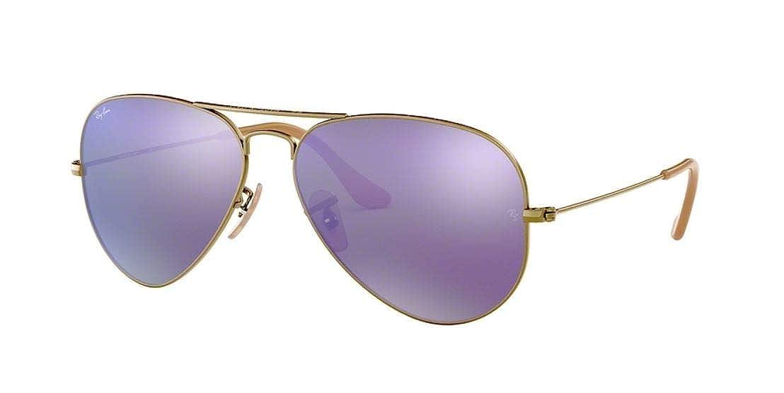 b5387602d2c3 Amazon.com  Ray-Ban RB3025 Aviator Large Metal Unisex Aviator Mirror  Sunglasses (Brushed Bronze Demi Shiny Frame Grey Mirror Purple Lens 167 1M