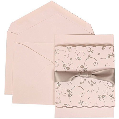 JAM Paper Wedding Invitation Set - Large (5 1/2'' x 7 3/4'') - White Card with Silver Rose and Ribbon, White Envelopes - 50/pack by JAM Paper
