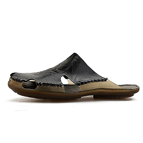 amp;Baby Black Black Closed Sunny Leather Men's Resistant Flat Beach Slippers 5MUS 7 Abrasion Sandals Slip Genuine Size Soft Color Toe Non aSwdwRx