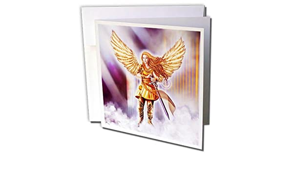 7b99ffd05 3dRose Dream Essence Designs-Angels - Beautiful Guardian Angel in Armor  with clouds and gates of heaven - 6 Greeting Cards with envelopes  (gc_262329_1)