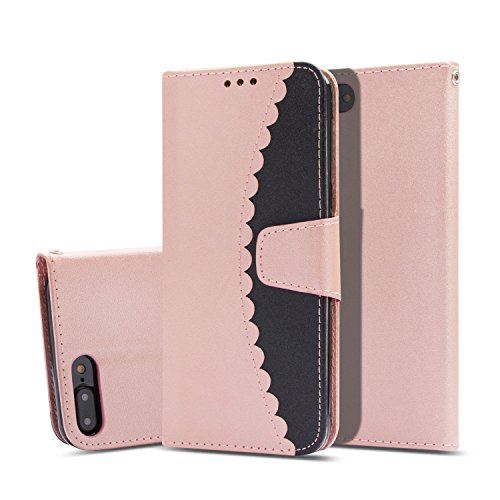 iPhone 8 Plus Case,iPhone 7 Plus Case, UZER Premium PU Leather Flip Folio Wallet Case with Kickstand Card Holder ID Slot and Hand Strap Shockproof Protective Book Case for iPhone 8 Plus/7 Plus ()