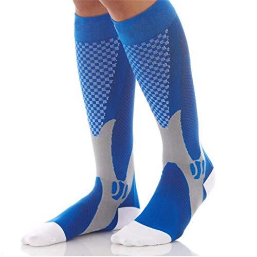 EUIHG Funny Cotton Socks Men Women Crew Long Compression Socks Male Winter White Happy Bamboo Warm Below Socks Blue S M