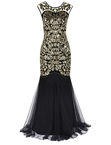 Kayamiya Women's 1920s Gown Beaded Sequined Maxi Long Gatsby Mermaid Evening Dress L Gold
