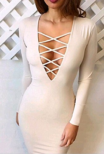 Hollow Long Pencil Women Bodycon Dress Sleeve Coolred White Evening Sexy RE5qc