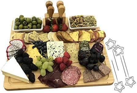 Bamboo Wood Charcuterie Board - Serving Board - 4 Cheese Markers, 2 Ceramic Dishes, 4 Kitchen Knife Set Utensils, Cutting and Serving Tray - Holds Cheeses, Meats, And Other Foods