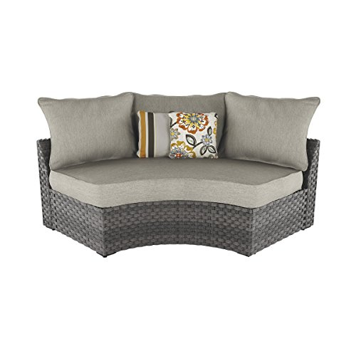 Ashley Furniture Signature Design - Spring Dew Outdoor Curved Corner Chair with Cushion - Gray