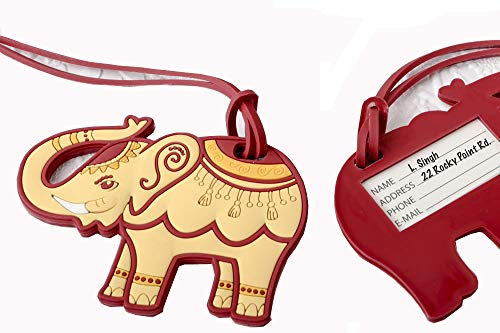 15 Adorable Ruby Red And Cream Elephant Luggage Tags