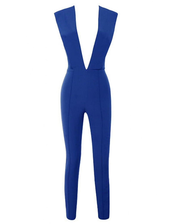Whoinshop Damen reizvolle tiefe V Ansatz-Overall-Stretch Bodycon Partei Romper