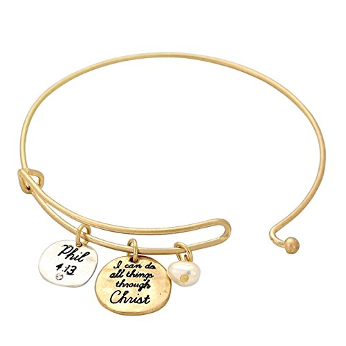 Opening Bible Charm (Rosemarie Collections Women's I Can Do All Things Through Christ Religious Charm Bracelet (Gold Tone))