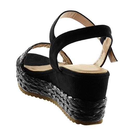Angkorly Zapatillas Moda Sandalias Mules Correa de Tobillo Bimaterial Mujer con Paja Trenzado Hebilla Plataforma 6.5 cm Negro