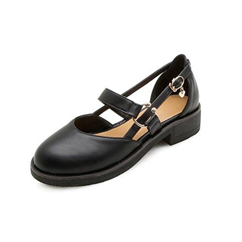 Sandalias Negro cómodos Redonda Genepeg de Informal Zapatos Retro bajo Puntera Mujer tacón Estilo cuadradas Estilo universitarios ZwdWzHwq7