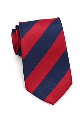 Bows-N-Ties Men's Necktie Wide Striped Microfiber Satin Tie 3.25 Inches (Cherry Red and Dark Navy)
