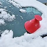 RDTIAN Windshield Ice Scraper A Round Magical Cone Shaped Scrape Snow Shovel Tool (10cm, Red)