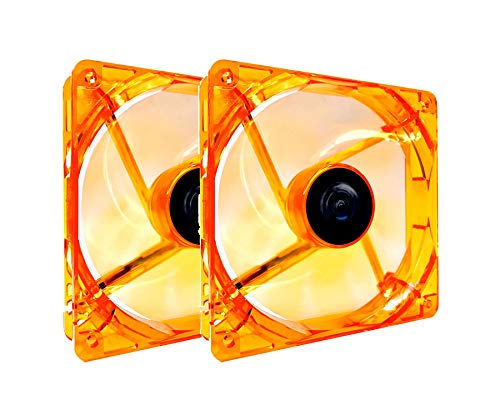 APEVIA AF212L-OG 120mm 4pin+3pin Silent Orange LED Case Fan ()