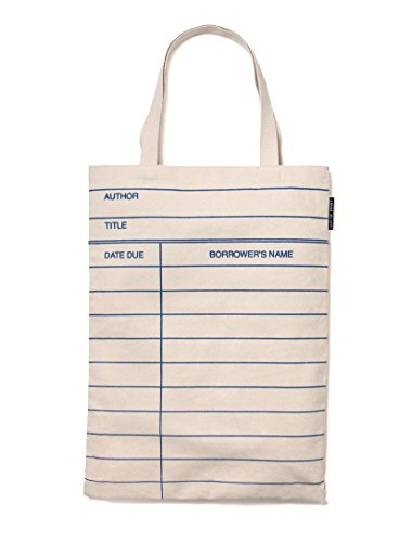 Out of Print Library Card Tote Bag Natural, 14 X 18 Inches