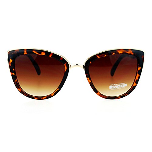 SA106 Runway Fashion Metal Bridge Trim Oversized Cat Eye Sunglasses Tortoise Shell (Cat Sunglasses For Women Eye)