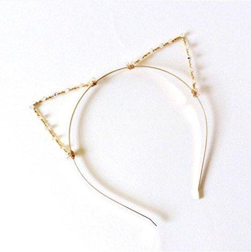 Kitten Swarovski (Crystal Gold Cat Ears Headband, Golden Kitten Hair Band With Swarovski Elements, Kitty Cat Ears, Sparkly Metal Wire Costume Ears)