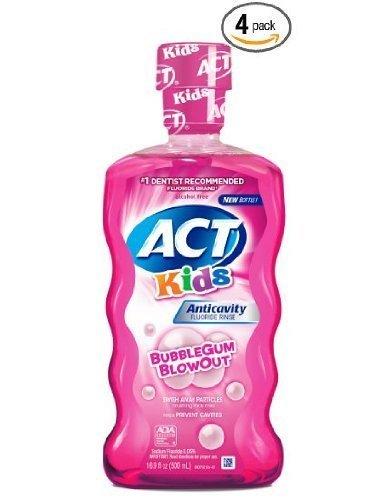 Rinse Bubble Gum - ACT Kids Anticavity Fluoride Mouthwash, Bubble Gum Blow Out 16.9 oz. (Pack of 4)