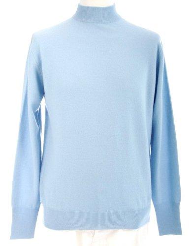 - Shephe 4 Ply Men's Mock Turtleneck Cashmere Sweater Sky Blue Medium