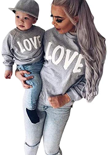 Family Matching Mother Daughter Son Letters Print Hoodie Long Sleeve Sweatshirt Size 2-3 Years/100 (Grey)