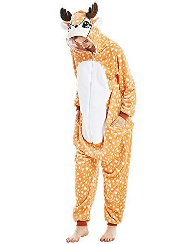 One Piece Pajamas Animal Costume- Halloween Cosplay Sleepware Cartoon Winter Adult Unisex Medium (155-165cm), Deer -