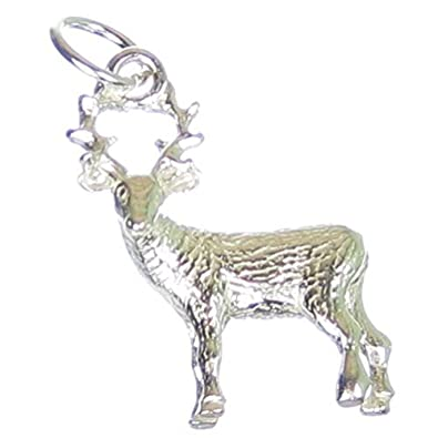 New Deer Fawn Shiny Sterling Silver .925 Pendant Charm Fine Jewelry