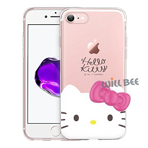 iPhone 6S Plus/iPhone 6 Plus Case Hello Kitty Face Cute Bow Ribbon Clear Jelly Cover for [ Apple iPhone 6S Plus / 6 Plus ]