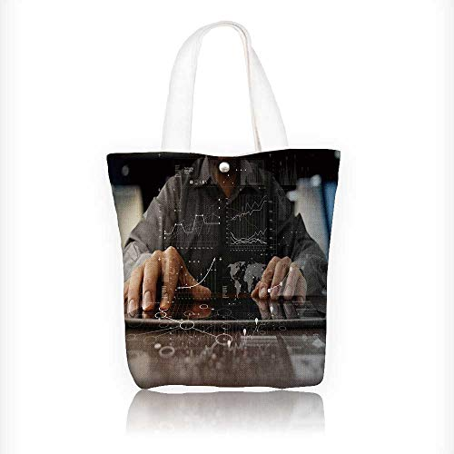 17035ff866c9 Stylish Canvas Zippered Tote Bag man work on laptop computer with digital  layer strategy and social media Shopping Travel Tote Bag W11xH11xD3 INCH