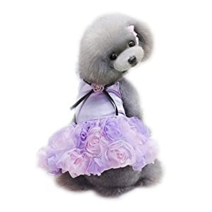 WONDERSKY Small Pet Dog Tutu Party Rose Flower Wedding Dress Satin Puppy Costume Purple (S)