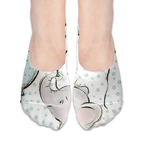 - BRECKSUCH Baby Elephant Carried A Blue Balloon Suits Female Non Slip Boat Socks,Unique Casual Thin Polyester Cotton Low Cut Socks,Hidden Flat Boat Liner