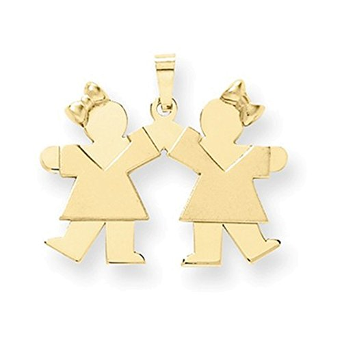 14k Solid Engravable Small Double Girls Charm by Jewelry Adviser Charms