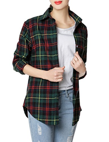 GUANYY Women's Long Sleeve Casual Loose Classic Plaid Button Down Shirt(Red Green,X-Large)