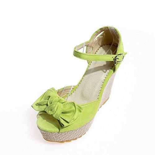 AllhqFashion Mujeres Hebilla Peep Plataforma Sintético Sólido Sandalia Verde