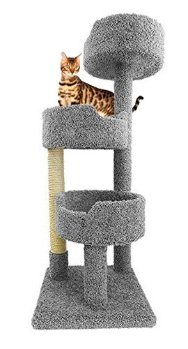 CozyCatFurniture Cat Tower for Large Cats in Gray Carpet 52 inch Tall Kitty Tree Three Beds and Sisal For Sale