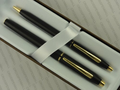 Cross Made in the USA Century Classic Writer's Companion Twin Matte Black and 23k Gel Ink Selectip Rollerball and Ballpoint Pen Gift Combo ()